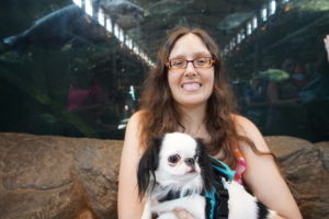 Veronica and Hestia in front of the fish tank in Bass Pro
