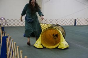 Hestia racing through a yellow tunnel