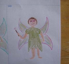 A drawing I did of pyschotic me. Drawing of a woman with short hair and red square glasses wearing a green tattered fairy dress, with fairy wings and a wand.