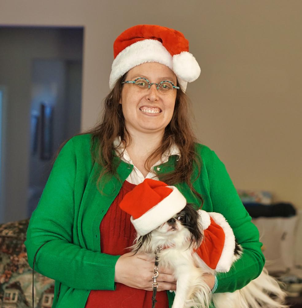 Veronica and Hestia, Hestia's santa hat is covering up one eye!