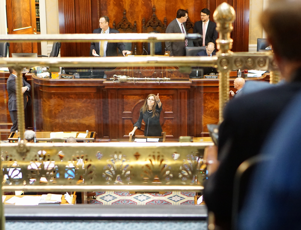 A woman in a black dress on the Senate floor gesturing towards the balcony with CFS/ME supporters.