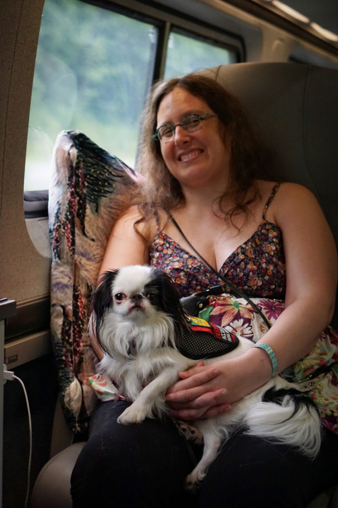 Veronica and Hestia relax on the train. Veronica smiles knowingly as she leans against her pillow propped up along the window side of the train, hands clasped and fingers interlaced with Hestia on her lap, her body strapped in by those hands and her eyes seriously fixed on the camera as she contemplates sleep.