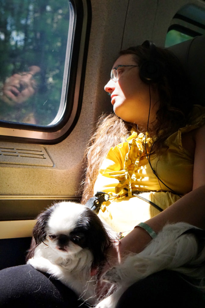 Veronica stares out the train window, while Hestia stares at Veronica's knee.