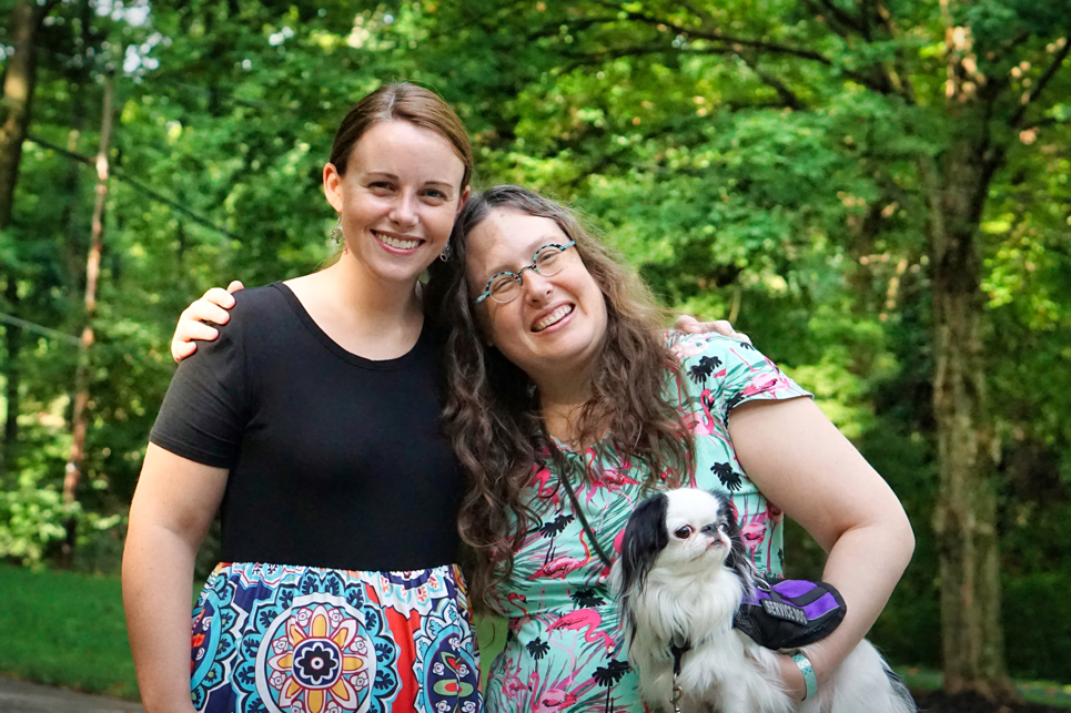 Another pic of Katie, me, and Hestia.  This time you can see Hestia's purple vest!