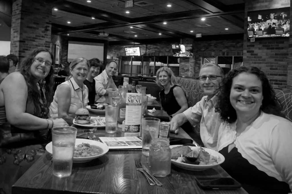 A picture of Veronica with our airline friends, out to dinner after the conference.