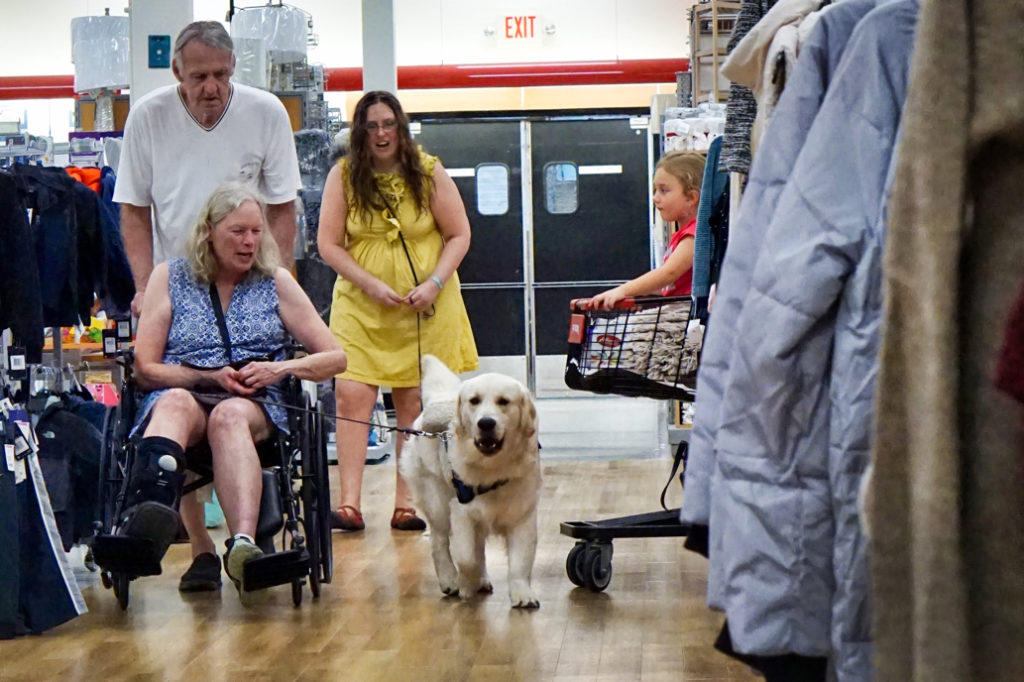 Mick pushes Barbara's wheelchair and Tripper walks next to her.  This picture is very important because a second before it was taken, the child in the cart to Tripper's left was very excited to see Tripper, and Tripper really wanted to go say hi.  But he refocused himself and carried on!
