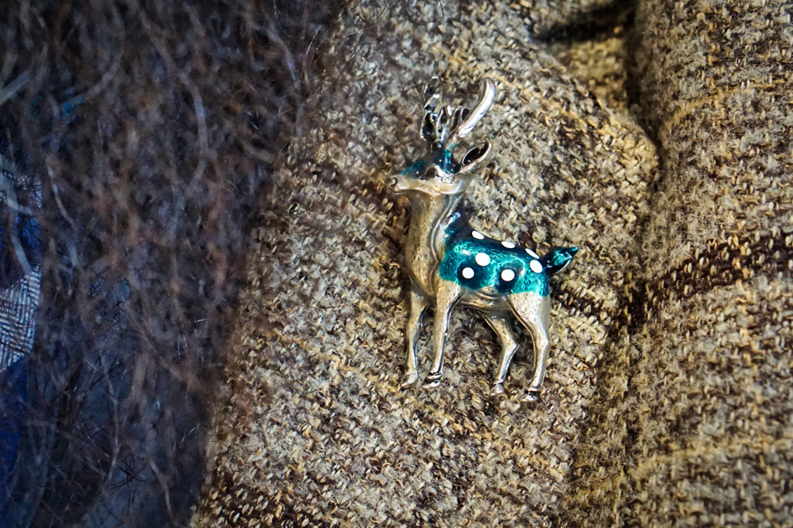 A closeup of Brad's pin-- a blue-green deer.  He chose it because we were going to a sporting goods store.