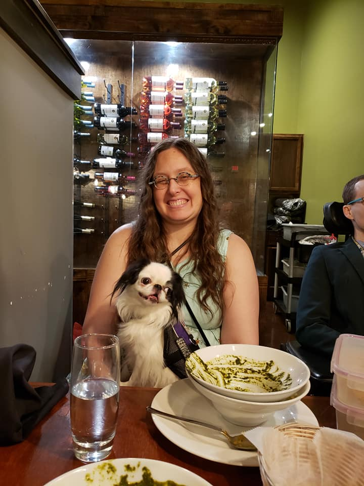Christi took this picture of Hestia sitting on my lap after we finished eating dinner.