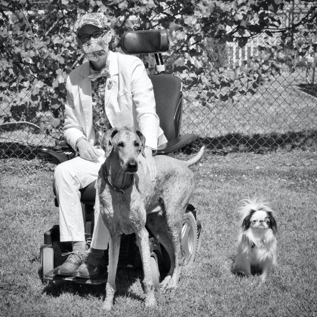 Brad with Ollie and Hestia in black and white.