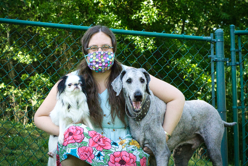 Veronica with Ollie and Hestia with the dogs looking slightly to the right.
