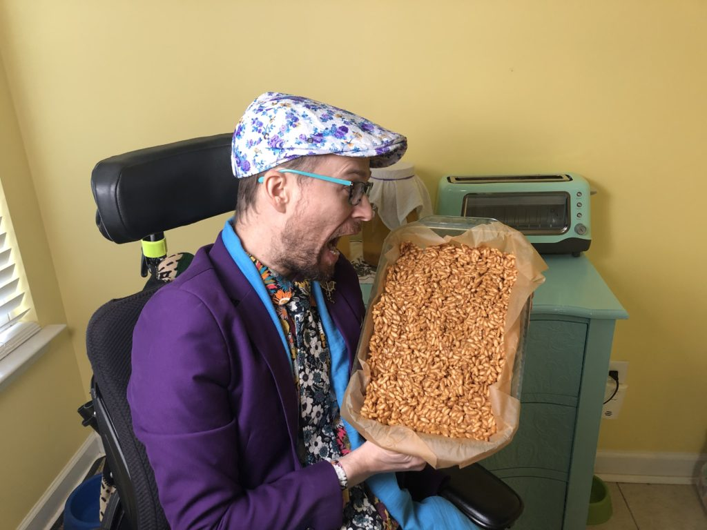 Brad pretends to eat the entire tray of treats!